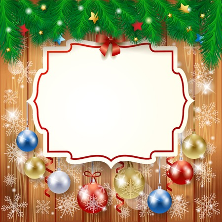 Sfondo Natale con etichetta e baubles, illustrazione vettoriale eps10 Archivio Fotografico - 49137532