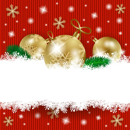 christmas ball: Christmas baubles and copy space on knitted background. Vector illustration eps10 Illustration