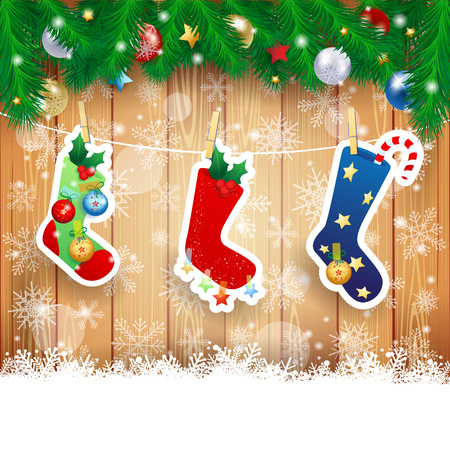 christmas tree ornaments: Christmas stocking on wooden background, vector illustration eps10