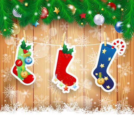 De kous van Kerstmis op houten achtergrond, vector illustratie eps10 Vector Illustratie