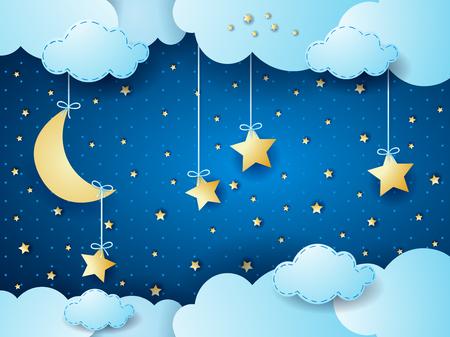 hadas caricatura: noche surrealista, fantasía nube scape. ilustración vectorial Vectores