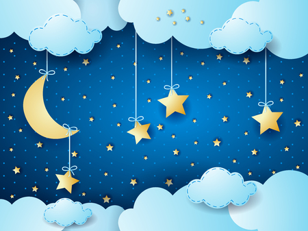 Surreal night, fantasy cloud scape. Vector illustration Çizim