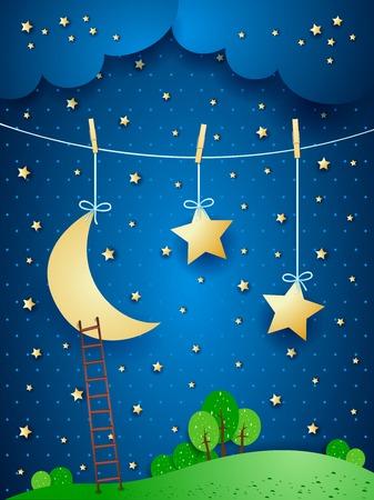 noche y luna: noche surrealista, ejemplo de la fantasía. Vector Vectores