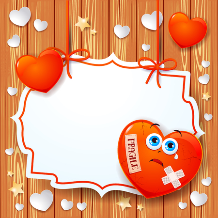 fragility: Valentine background with broken heart and label. Vector illustration