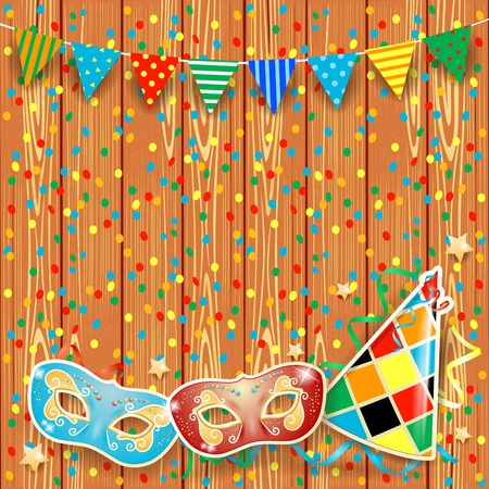 festoon: Carnival background with festoon, masks and hat.