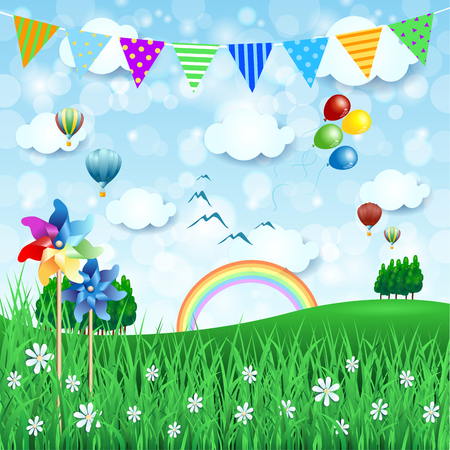 festoon: Spring background with balloons and festoon.