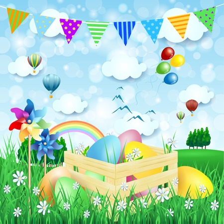 dirigible: Easter background with Easter eggs and countryside