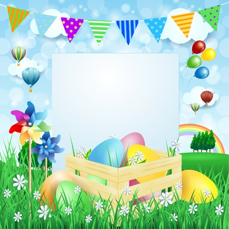 festoon: Easter background with Easter eggs and copy space. Illustration