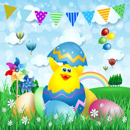 trees sky: Easter background with chick and Easter eggs