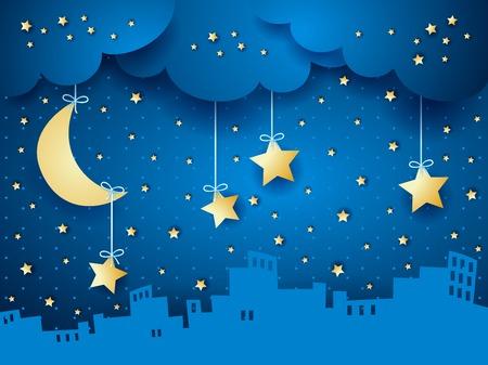 luna caricatura: Fondo surrealista con la luna y el horizonte.