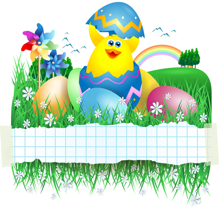 cartoon egg: Easter banner with funny chick