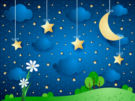 immagination: Surreal background with moon, clouds and flowers. Illustration