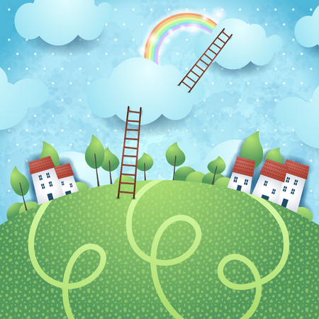 fantasy background: Fantasy background with village and ladders Illustration