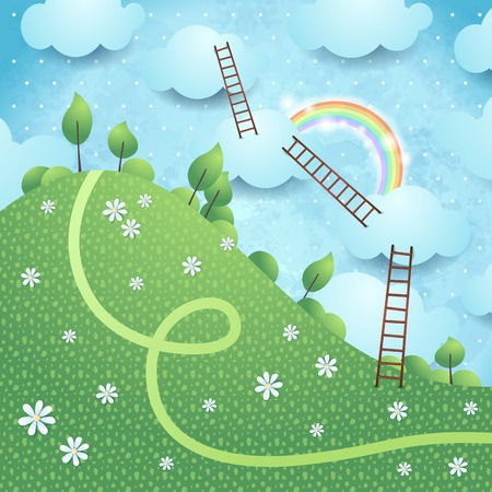 ladders: Fantasy landscape with ladders