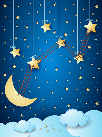immagination: Surreal landscape with moon, stars and ladders.