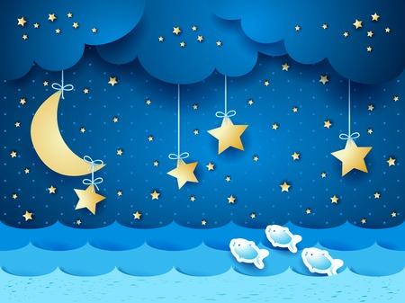 seascape Surreal avec la lune et les étoiles