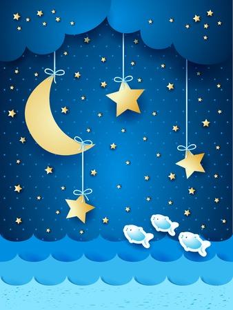 Surreal zeegezicht met de maan en de sterren