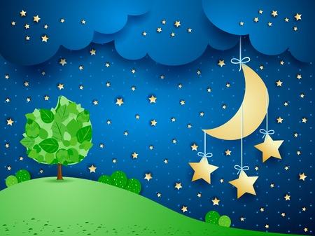 매달려 별과 초현실적 인 풍경 일러스트