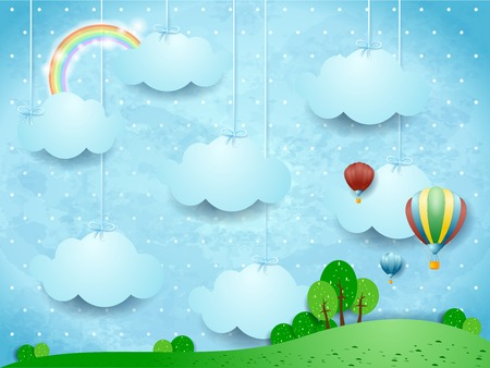 Surreal landscape with hanging clouds and hot air balloons