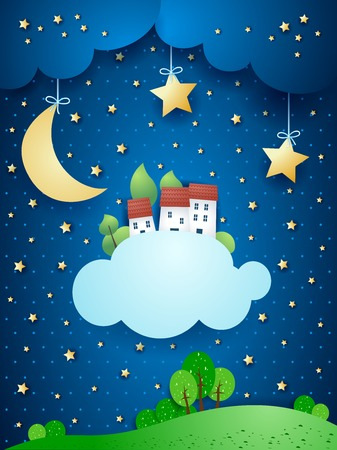 surreal landscape: Surreal landscape with moon, stars, village and clouds