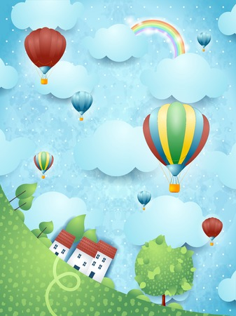 Surreal landscape with hot air balloons