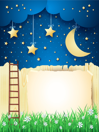 ladder  fence: Surreal landscape with stairway, moon and copy space. Illustration