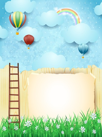 Surreal landscape with stairway and hot air balloons.