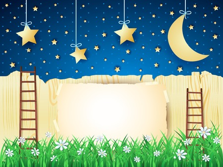 ladder  fence: Surreal landscape with stairs, moon and copy space. Illustration