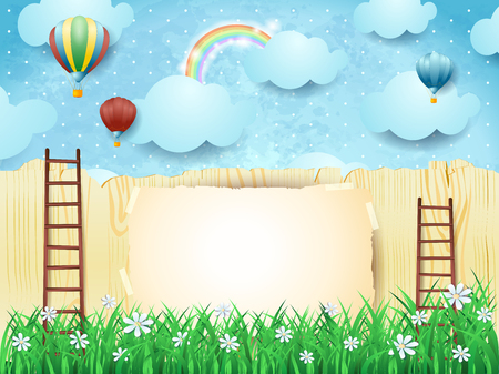 Surreal background with stairs and hot air balloons.