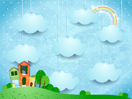 掛かる雲および家のシュールな風景。