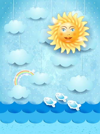 tropical beach panoramic: Summer landscape with hanging clouds and happy sun. Illustration