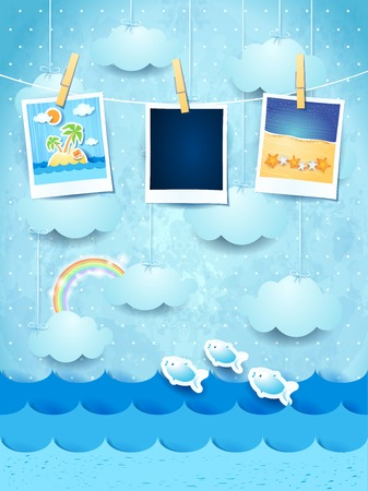 tropical beach panoramic: Summer background with photo frames