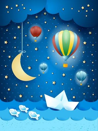 noche y luna: paisaje marino surrealista con globos aerostáticos y barco de papel.