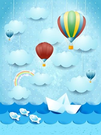 panoramic beach: Summer seascape with hot air balloons and paper boat. Illustration