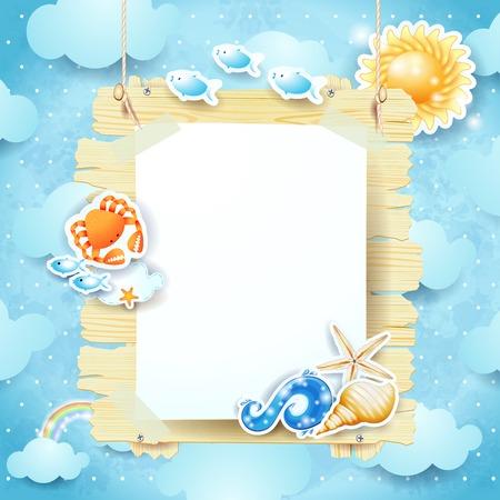 letreros: Letrero de verano en el fondo del cielo.