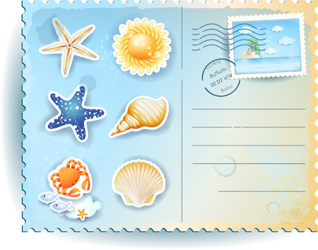 postcard: Summer postcard with icons Illustration