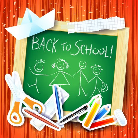 message board: School background with board and message, vector illustration eps10