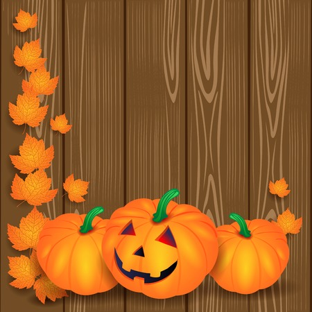 Halloween illustration with pumpkins and leaves on wooden background.