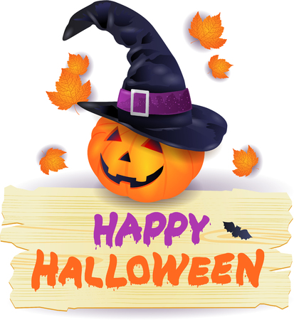 Halloween pumpkin with hat and wooden sign Illustration