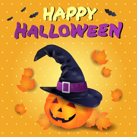 Halloween card with pumpkin, hat and text.