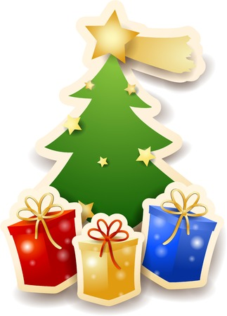 christmas gifts: Christmas tree with gifts on white background.