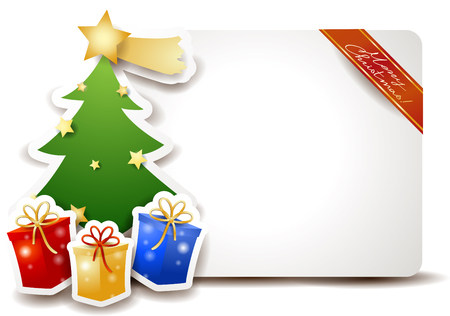 christmas gifts: Christmas signboard with tree and gifts.