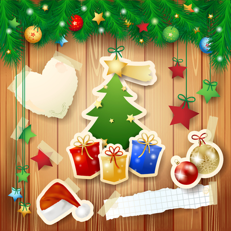 Christmas background with tree, gifts and paper elements. Illustration