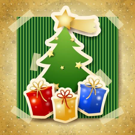 Christmas illustration with tree on cardboard background. Illustration