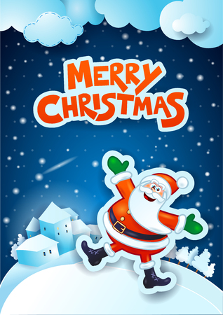 december holidays: Christmas eve with happy Santa Claus and text. Vector illustration eps10