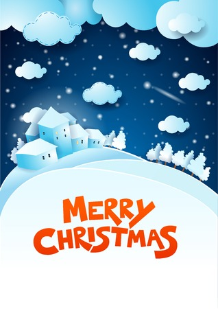 copyspace: Christmas night with text and copyspace Illustration