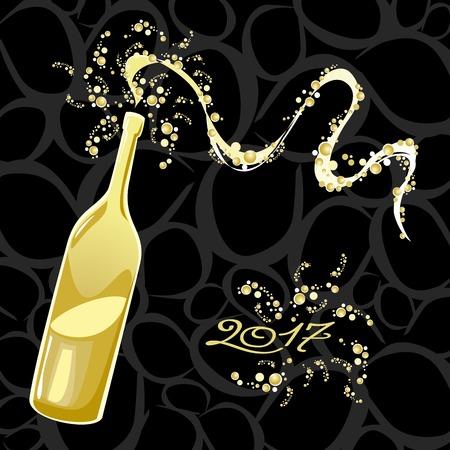 bubbly: Celebrating the New Year, bubbly bottle. Illustration
