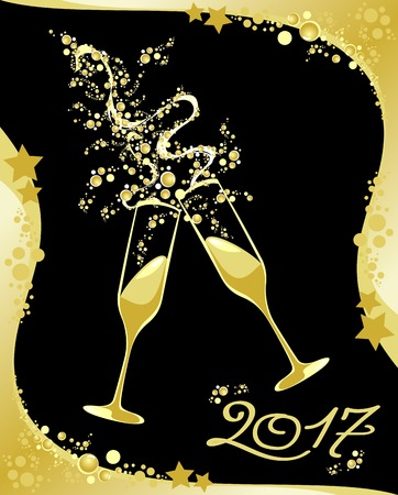 champagne: Celebrating the New Year. Illustration