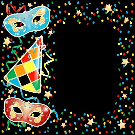 Party illustration with carnival masks on black background. Vector illustration eps10