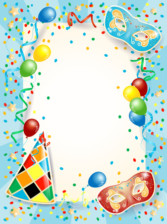 Party background with carnival masks, balloons and copy space. Illustration